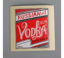 """Наклейка на бутылку """"Vodka original"""" красная"""